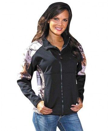 ec1579f842aeb Women's Black/Pink Mossy Oak Camo Windproof Jacket | Pretties | Camo ...