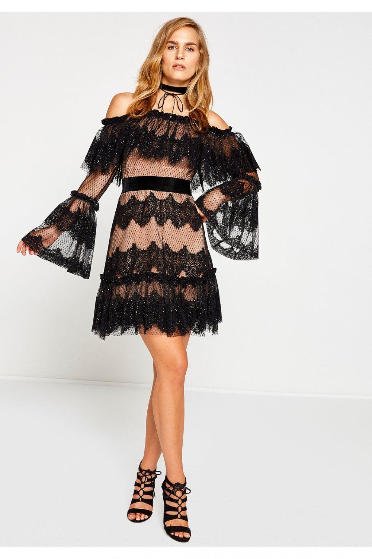 Koton Siyah Desenli Mini Abiye Elbise Elbisebul The Dress Elbise Aksamustu Giysileri