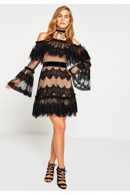Koton Siyah Desenli Mini Abiye Elbise Elbisebul The Dress Balo Elbiseleri Elbise