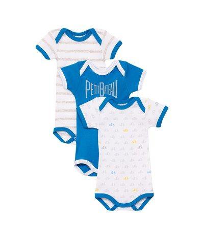 Lot de 3 bodies US bébé garçon manches courtes en coton imprimé Bleu - Petit  Bateau 720230d34ee