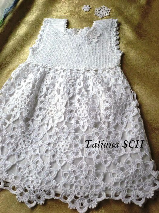 Vestido de bautizo tejido a crochet - Imagui