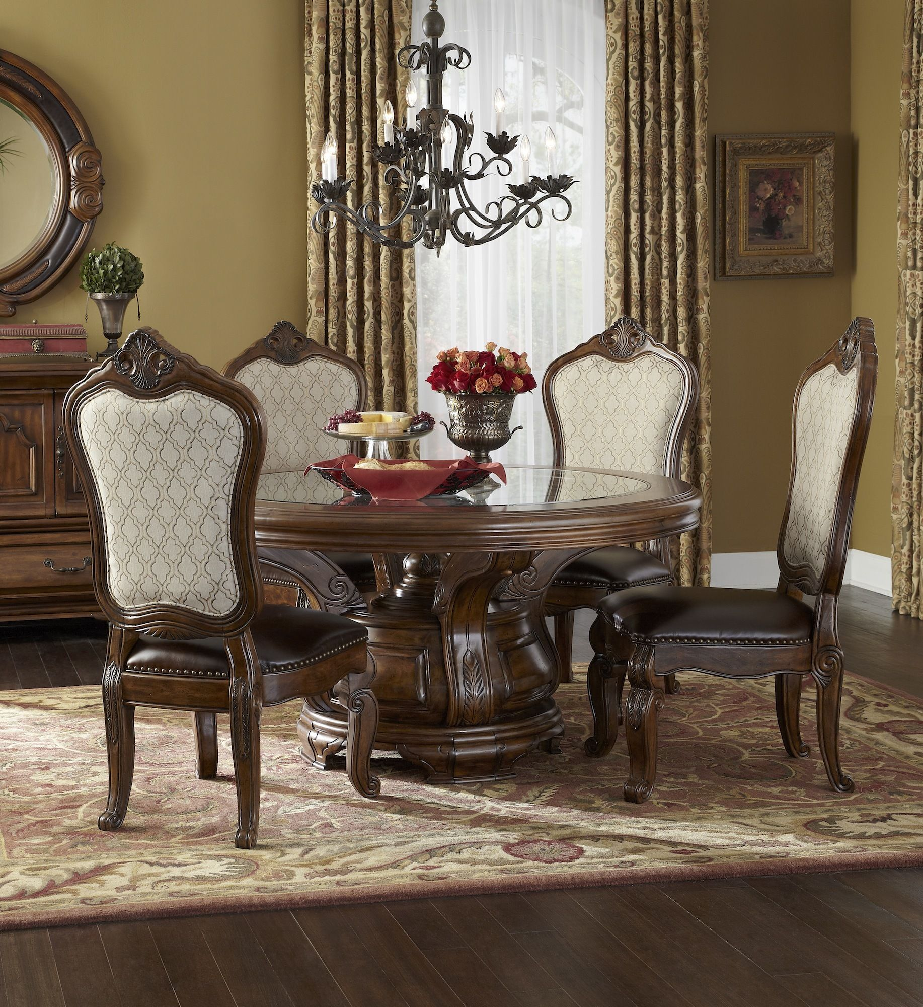 Tuscano Melange Round Pedestal Dining Room Set Aico Home Gallery Stores With Images Round Dining Room Sets Round Dining Room Table Round Dining Room