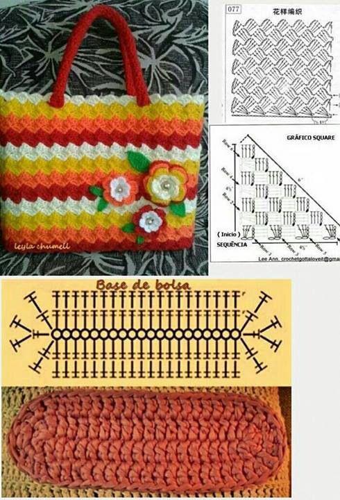 Patrón Bolso en #crochet.   Tejiendo. Manualidades. Accesorios ...