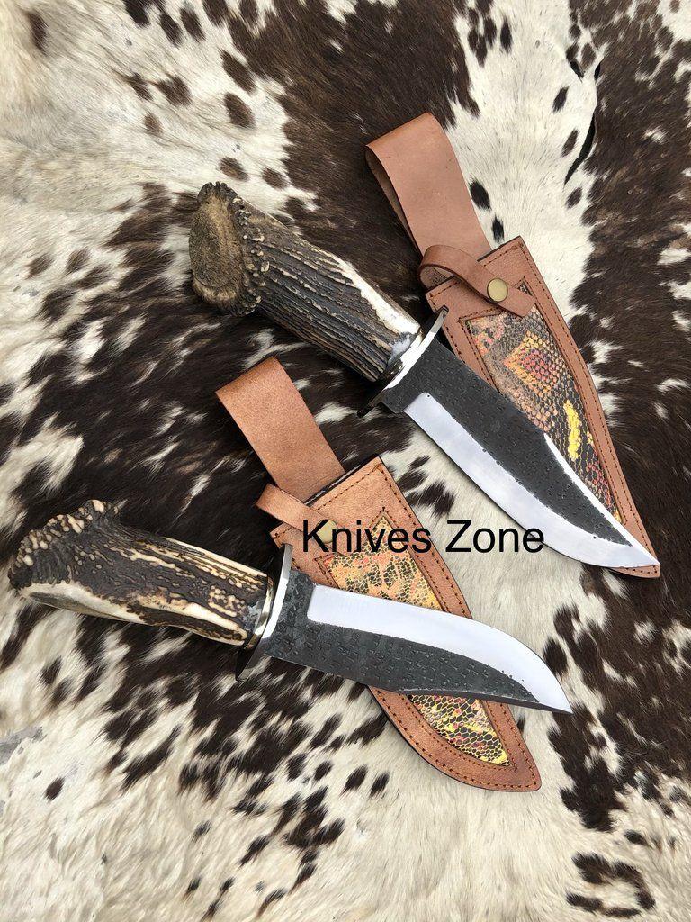 Custom Handmade 1095 Steel Knife With Custom Leather Sheath