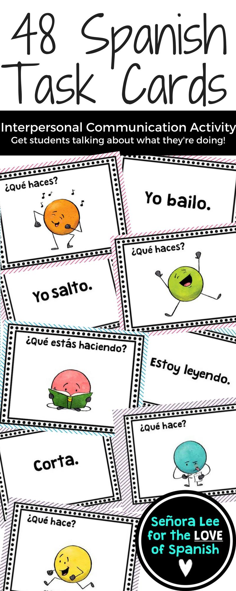 Spanish Verbs Task Cards - Present Tense Verbs, Present Progressive, Emotions #spanishthings