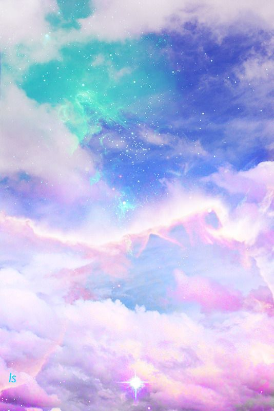 Art Cute Kawaii Sky Design Space Galaxy Pink Clouds Pastel Digital C