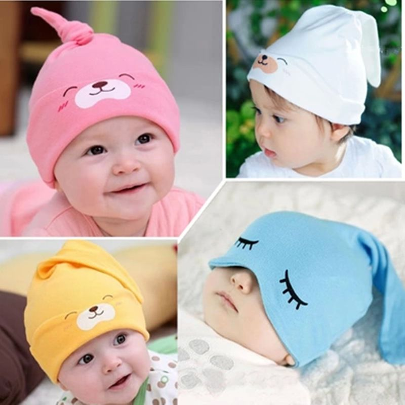 Baby Kids Toddler Infant Elastic Cotton Soft Double Printing Hats Cap Beanie New