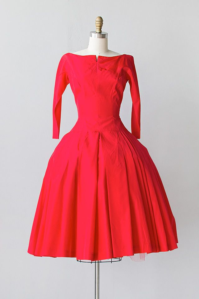 e168a10d0 vintage 1950s red taffeta bows pleats party dress