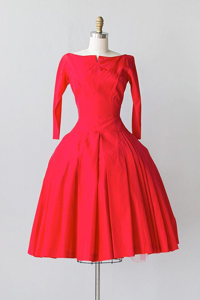 1950's Red Taffeta Dress