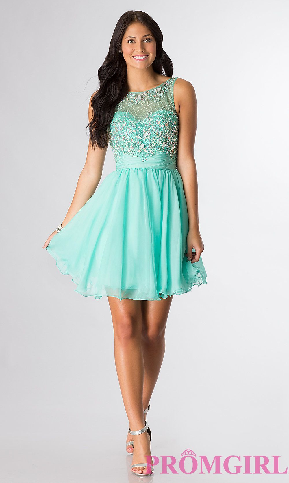Short Sleeveless Beaded Scoop-Neck Party Dress | Short semi formal ...