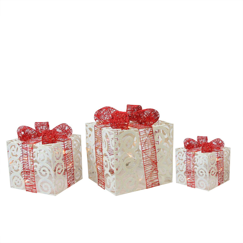 Set of 3 Lighted Sparkling White Swirl Glitter Gift Boxes Christmas Yard Art Decorations ...