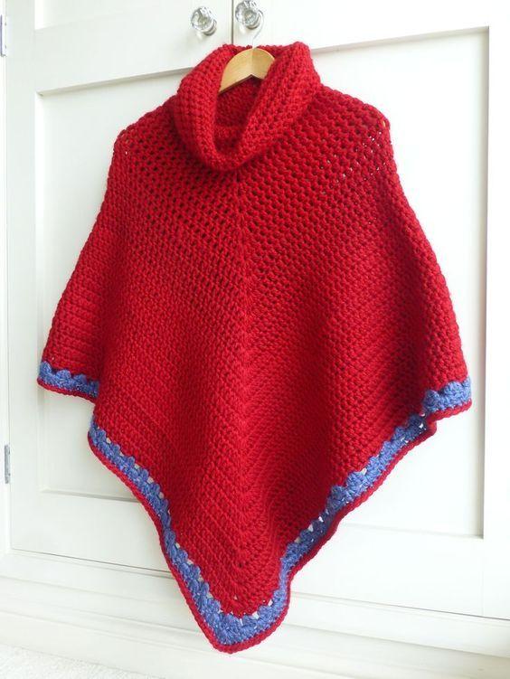 Cowl Neck Poncho Free Crochet Pattern Crocheting Pinterest
