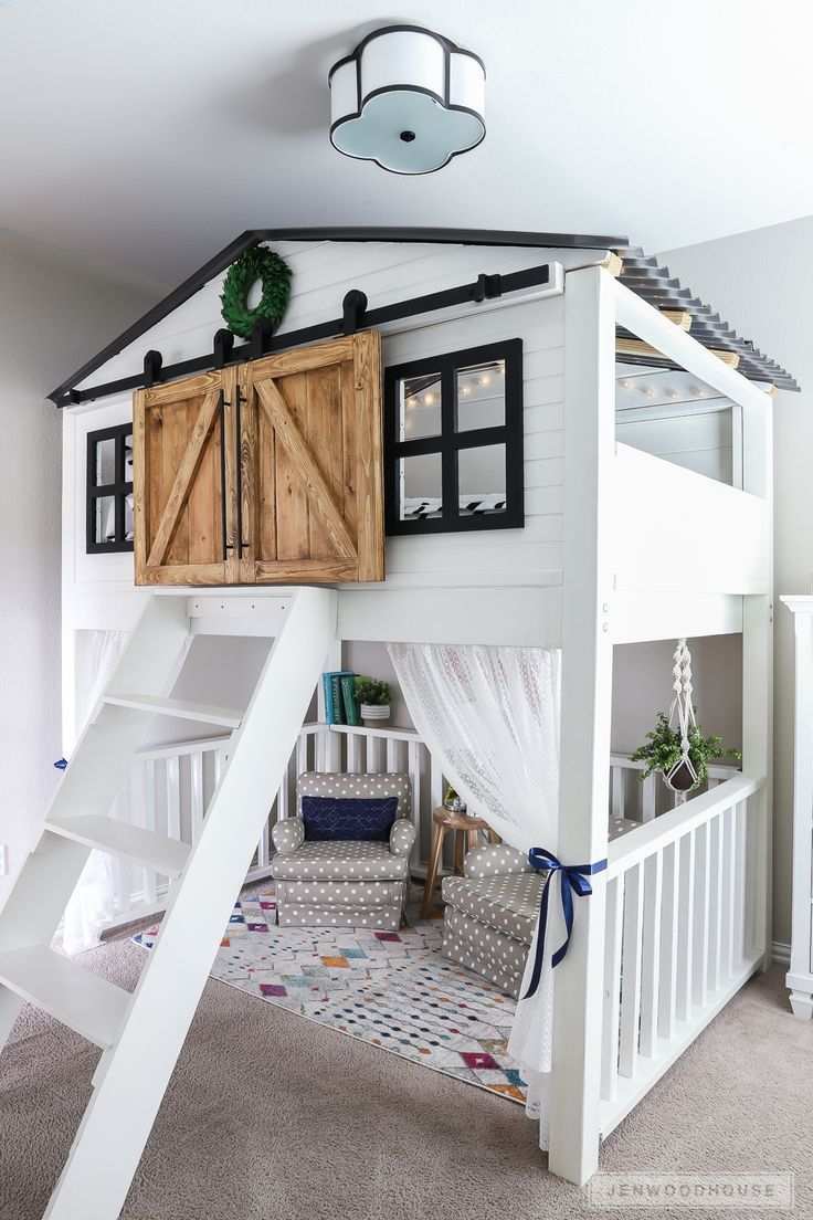 How To Build A DIY Sliding Barn Door Loft Bed Full Size -  Adorable kids room wi...