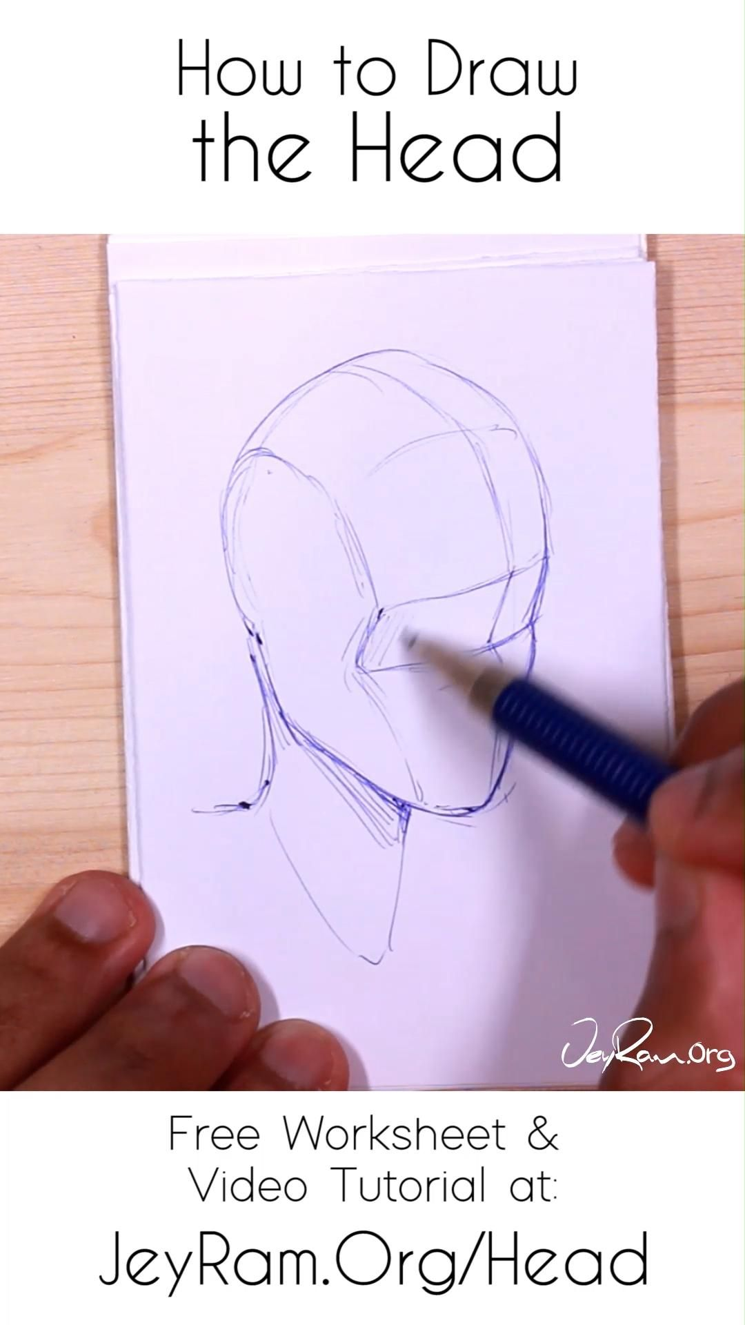 How To Draw The Head Looking Down Or As Seen From Above Video In 2020 Drawings Drawing Techniques Face Drawing
