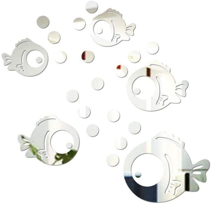 Vorcool 3d Acryl Wandaufkleber Fisch Und Bubbles Spiegel Aufkleber Umweltfreundliche Wandtattoos Fur Schlafzimmer Wohnzimme In 2020 Aufkleber Wandaufkleber Wandtattoos