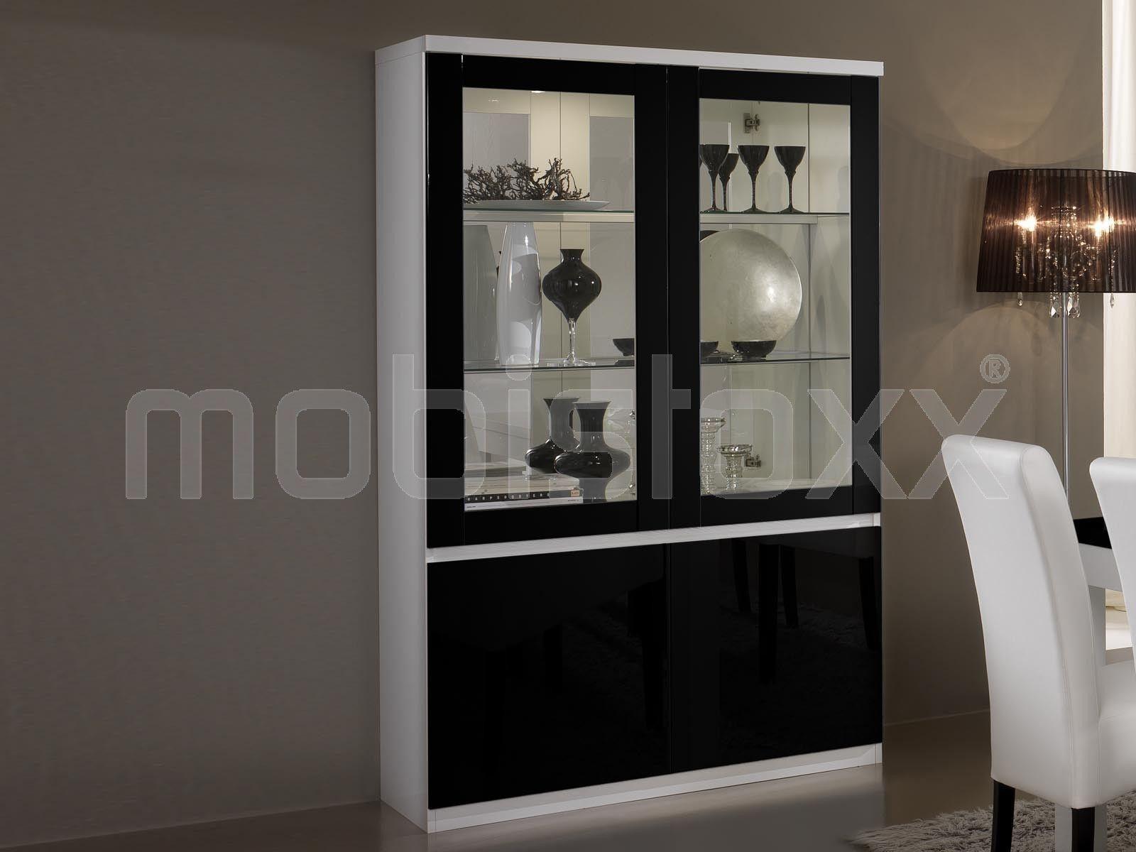 Vitrine Romeo 4 Portes Blanc Laque Noir Laque Avec Led 1 Meubles  # Vitrine Blanc Laque Led
