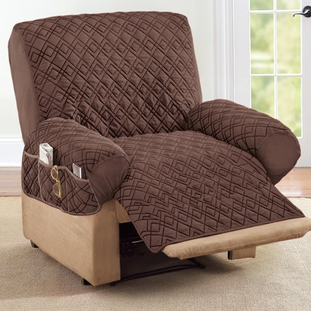 Collections Etc Diamond Shape Quilted Stretch Recliner Cover With Storage Pockets Chocolate Walmart Com In 2020 Recliner Cover Recliner Small Recliners