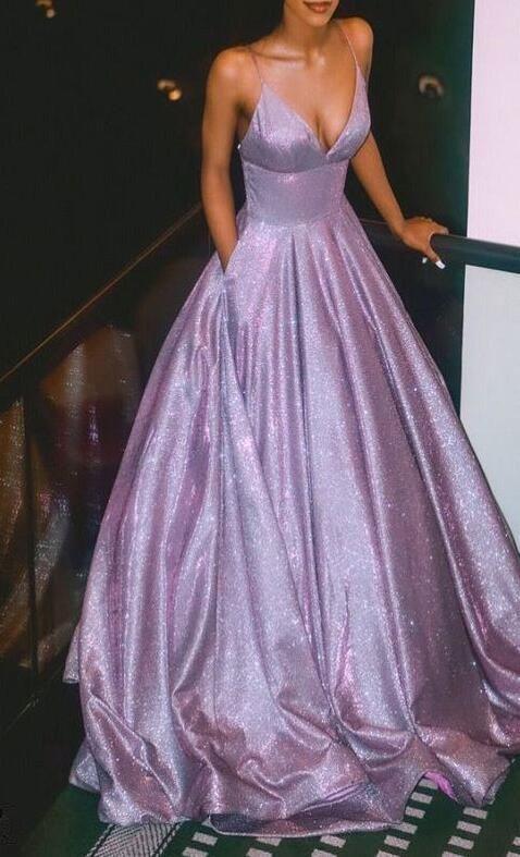 Charming Spaghetti Straps Prom Dresses,Shining A-l