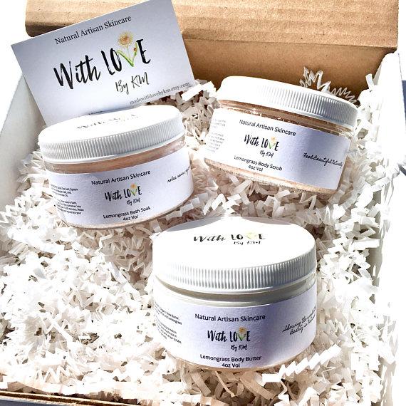 Lemongrass Spa Gift Relaxing Organic Set Gifts For Women Vegan Her Mom