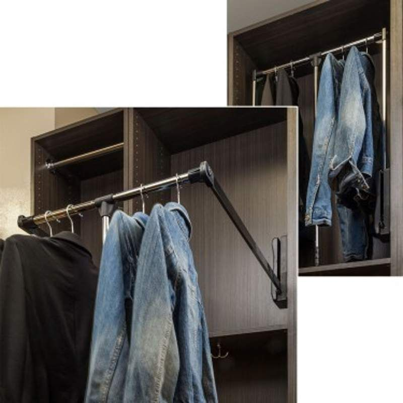 Hardware Resources 1532 Chrome 32 Inch Wide Pull Down Closet Rod Clothing Rack Hardware Resources Closet System