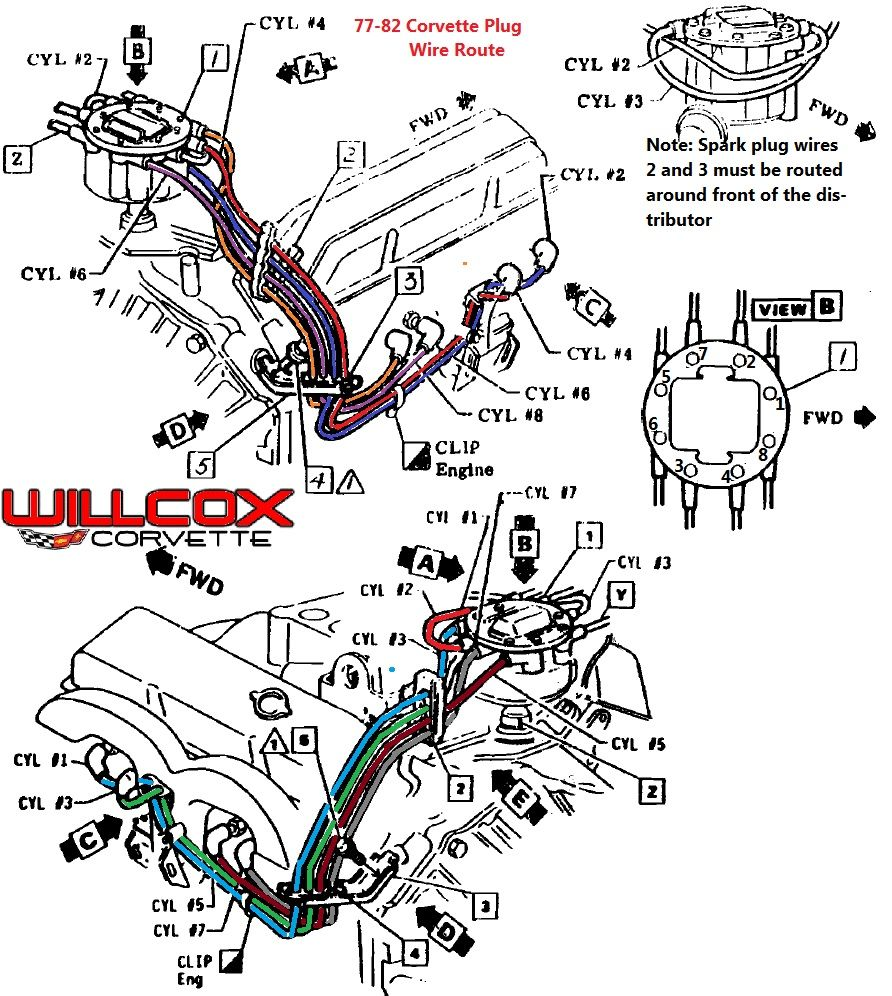 1977 1982 corvette corvette spark plug wire route auto 1976 1982 corvette engine diagram [ 892 x 996 Pixel ]