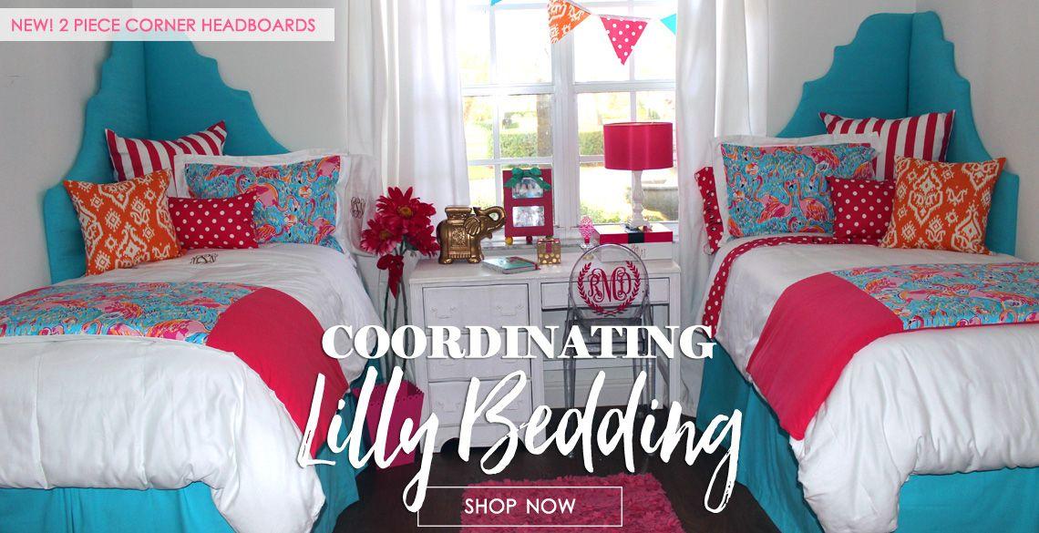 Preppy Dorm Bedding: Preppy Pink Lilly Dorm Room Custom Bedding Perfect For