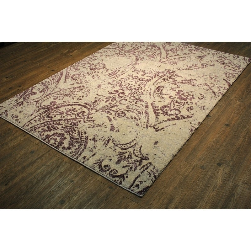 Lavender Ivory Persian Trellis 64 By 89 Inch Area Rug Purple Rugs