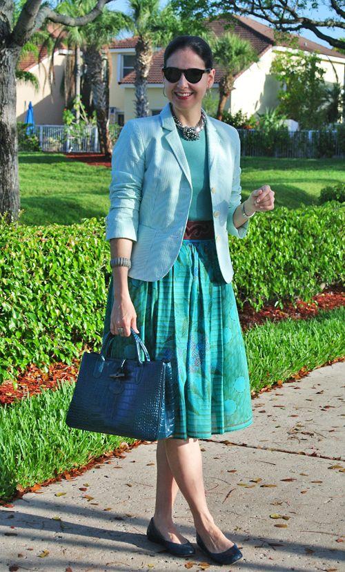 May 3, 2013 http://www.akeytothearmoire.com/post/49513660443/field-of-greens #green #emerald #turquoise #teal #brown #burgundy #bordeaux #metallic #hematite #seersucker #stripes #full skirt #wide belt #J. Crew #Longchamp #Roseau #Christian Dior #Cole Haan #Michael Kors #marcasite #gray #Ralph Lauren #classic #feminine #chic #preppy #professional #work appropriate #jacket #blazer