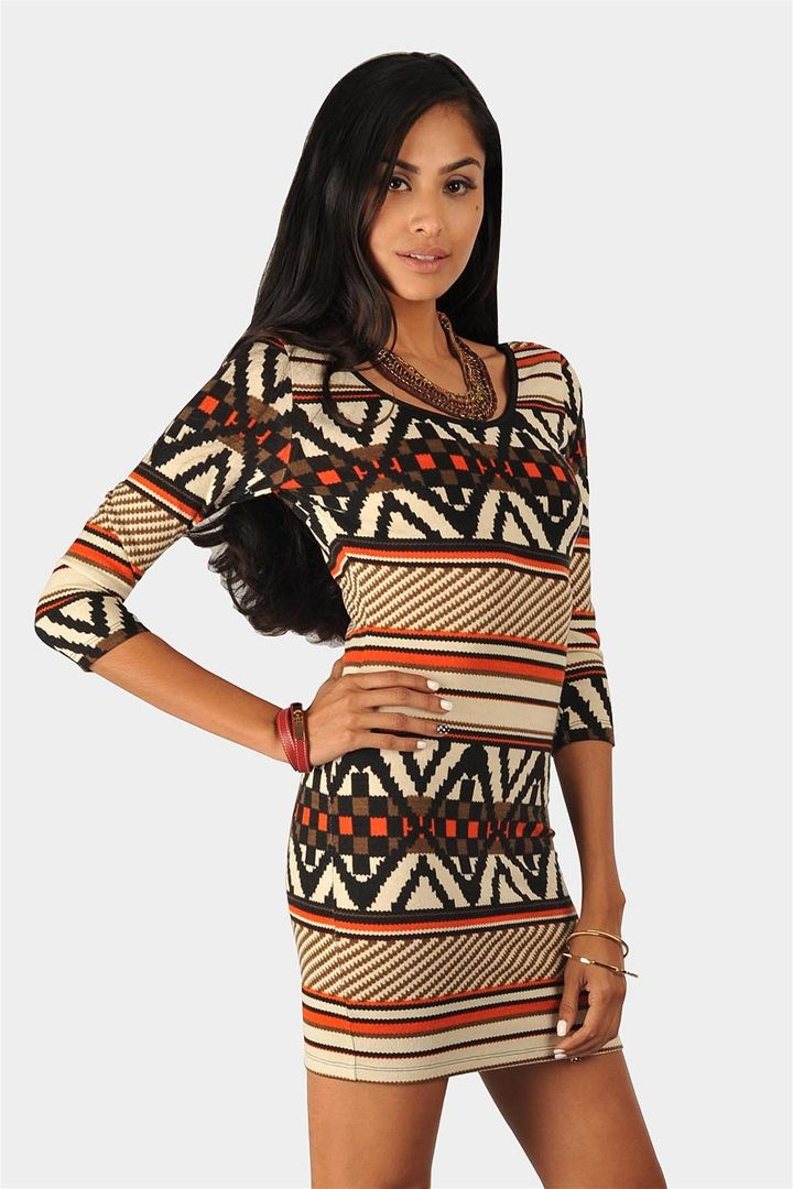 Rory Tribal Sweater Dress - Orange