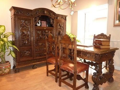 Muebles clasicos despacho estilo espa ol spanish style - Muebles estilo antiguo ...