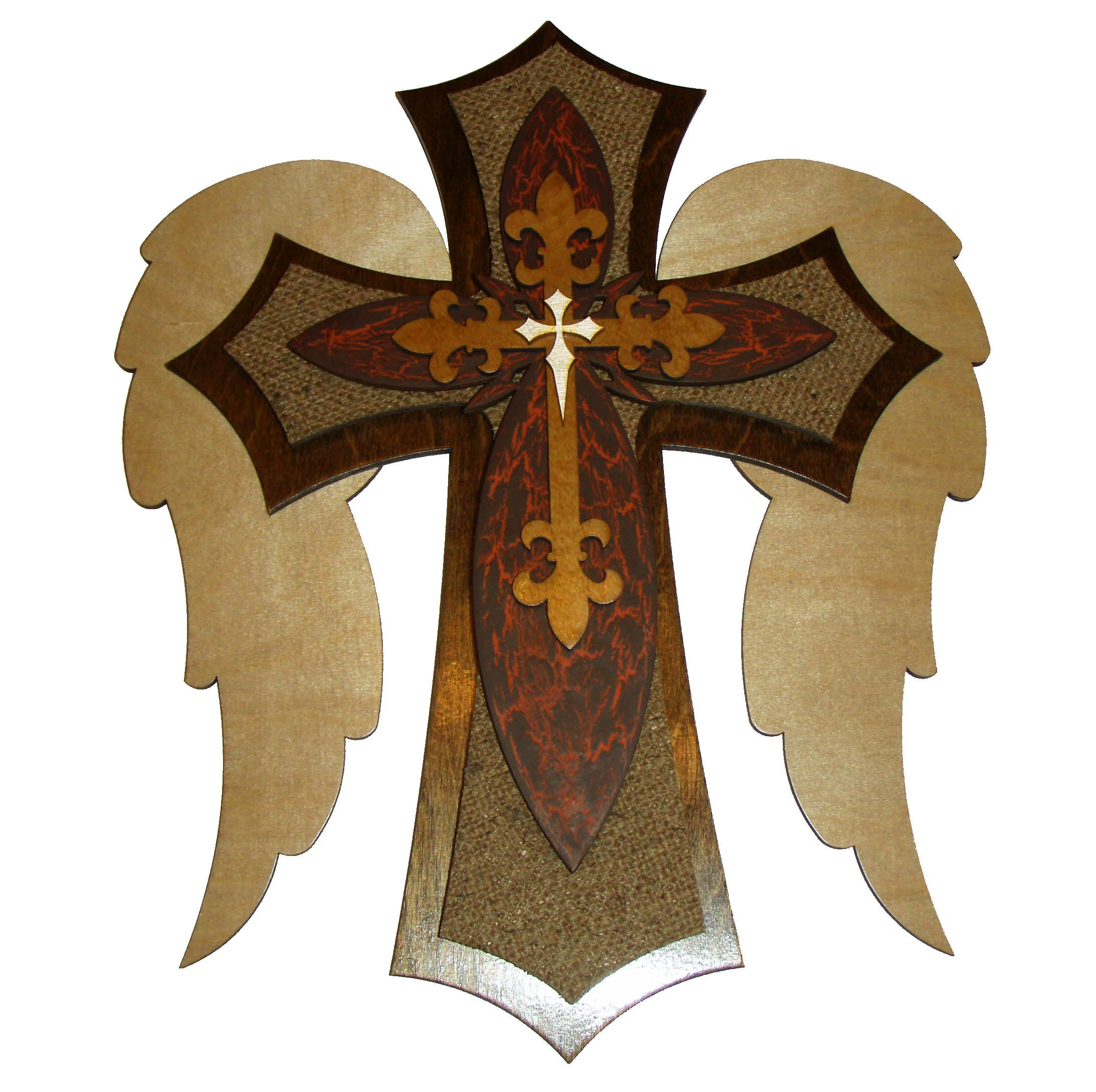 Angel Wing Decorative Wood Cross
