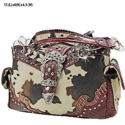 Western Belt Buckle Purse Cow Print Handbag Concealed Carry Gun Maroon Trim