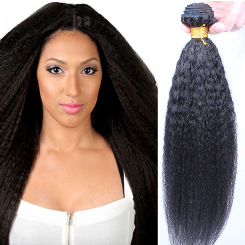 Original Brazilian Human Hair Yaki Hair Extensions Kinky Straight
