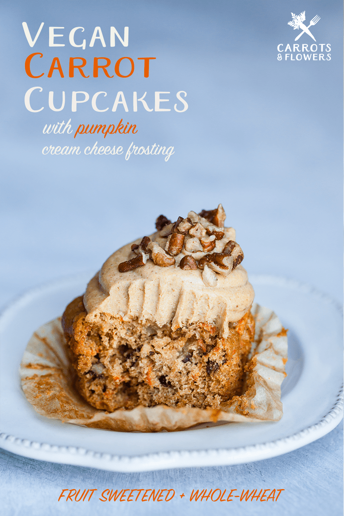 Vegan Carrot Cupcakes With Pumpkin Cream Cheese Frosting Naturally Sweetened