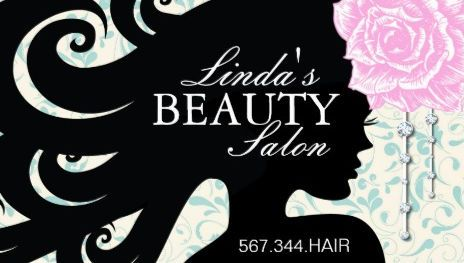 Vintage woman with curls silhouette with pink rose salon business girly hair salon business cards page 1 reheart Images