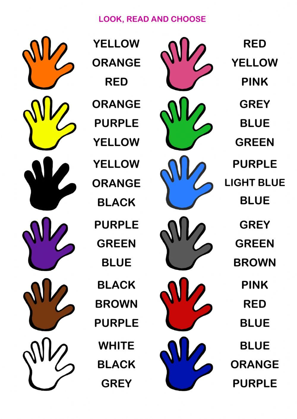 The colours interactive and downloadable worksheet. Check