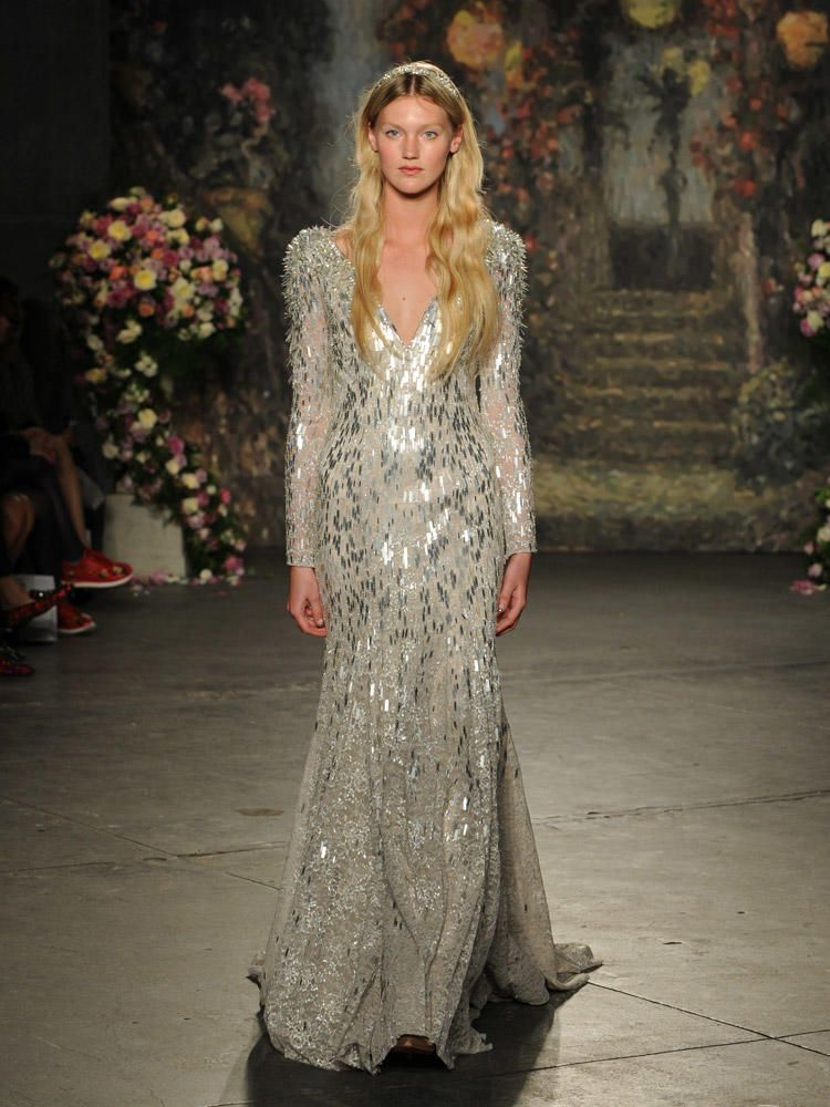 9d73ab1cee194 ... wedding dress collection. Jenny Packham long sleeve metallic silver and  organza floral appliques from Spring 2016