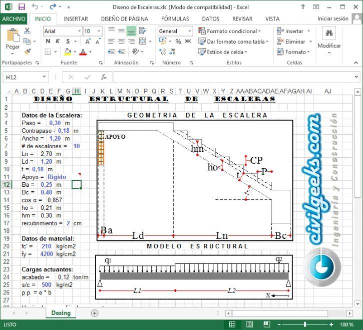 Hoja Excel Para El C Lculo Estructural De Escaleras Arq
