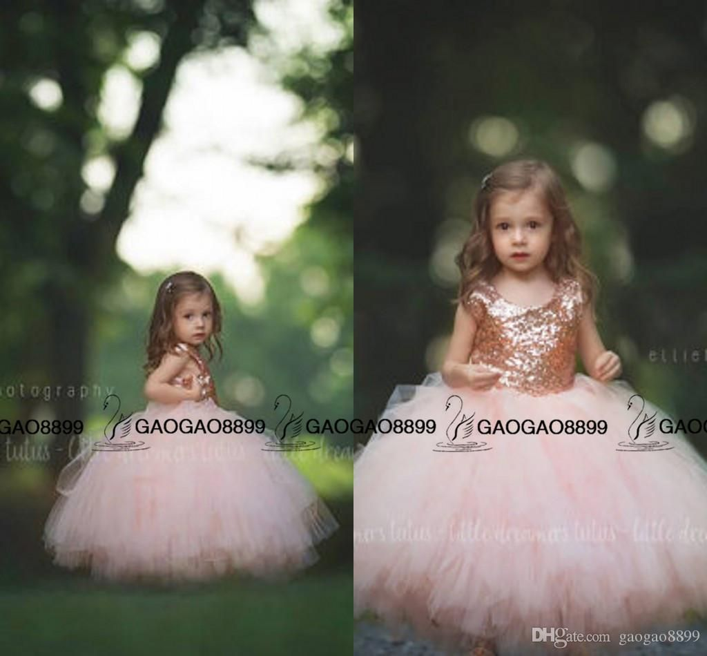 005c7c067ef6e communion dress Rose Gold Sequins Blush Tulle Ball Gown Flower Girls ...