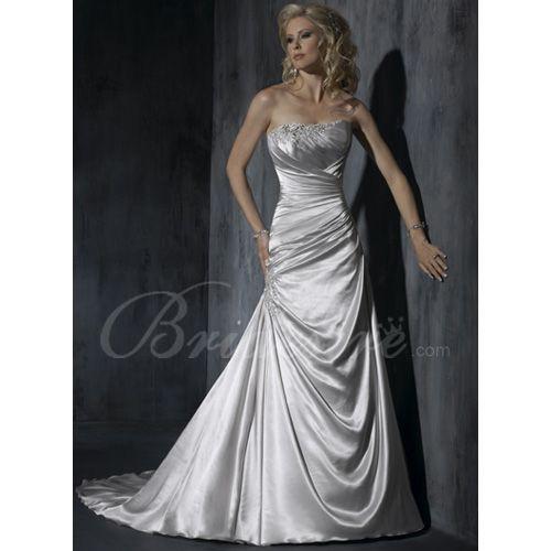 Silver A-line Strapless Sleeveless Court Train Elastic Satin Wedding Dress Item ID #:J1302  http://www.bridesire.com/aline-strapless-sleeveless-court-train-elastic-satin-wedding-dress-p-738.html