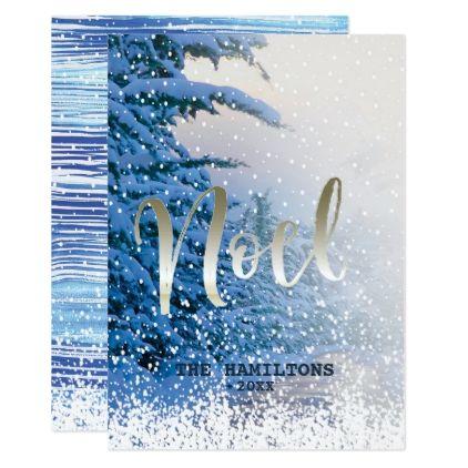 Noel Winter Christmas Scene Peace Joy Holiday Card Xmascards