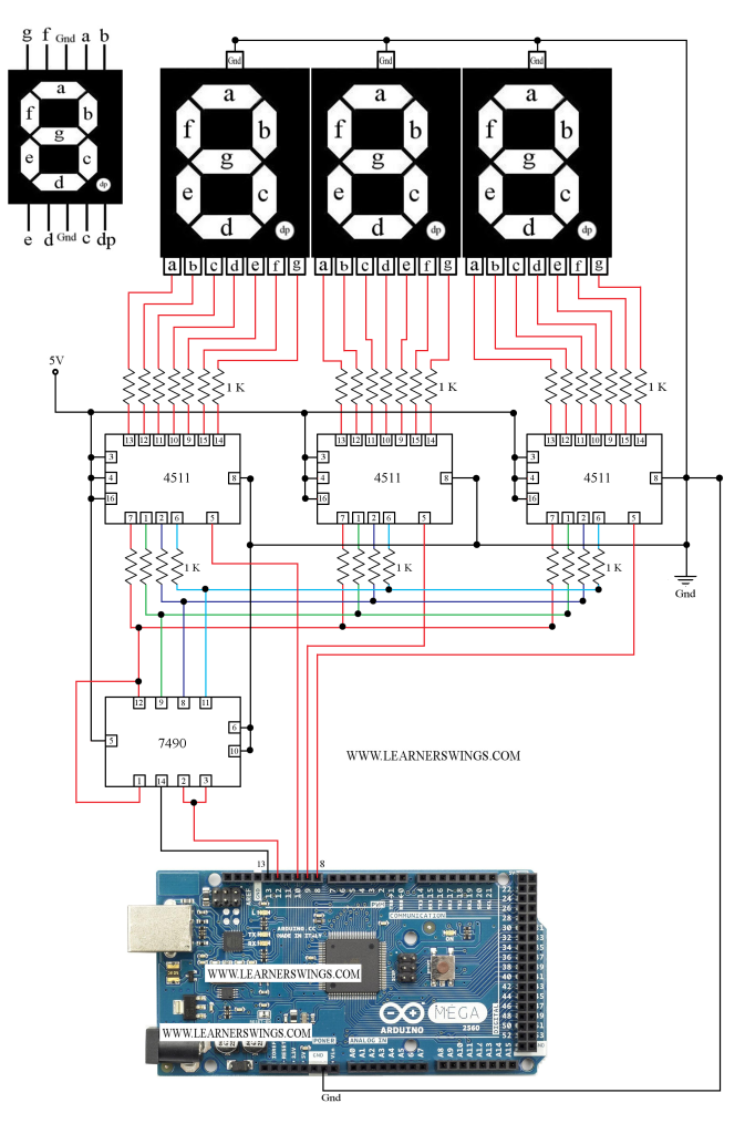 Circuit to Control Seven Segment Display using 7490 and
