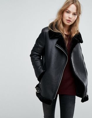 New Look Faux Shearling Suedette Aviator Jacket Shearling Jackets