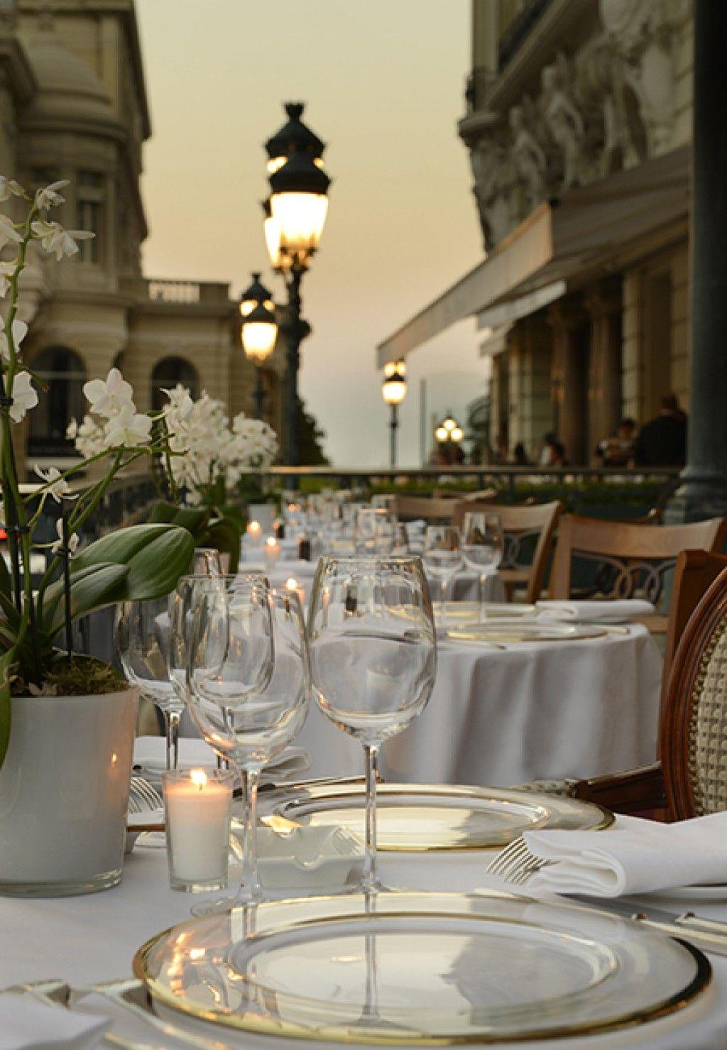 Fancy Restaurant in Paris at Night
