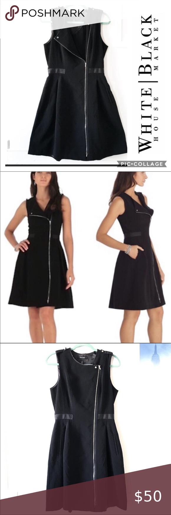 Whbm Zip Fit N Flare Black Dress W Pockets Size 8 In 2020 Black Dress Dresses Fit And Flare [ 1740 x 580 Pixel ]