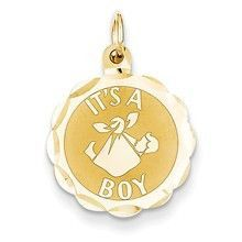 Polished Its a Boy Scalloped Disc Charm in 14k Gold