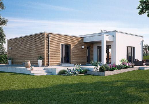 Modell venetien moderner flachdach bungalow optional mit zwei unterschiedlich hohen - Bungalow moderne architektur ...