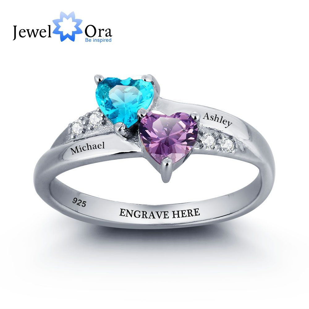 Personalized Engrave Name DIY Birthstone Love Promise Ring 925 Sterling Silver Heart Rings Free Gift Box