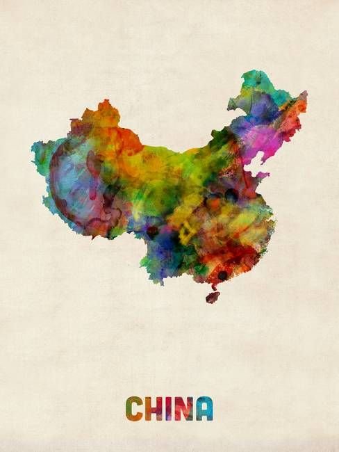 China Watercolor Map By Michael Tompsett Watercolor Map Map
