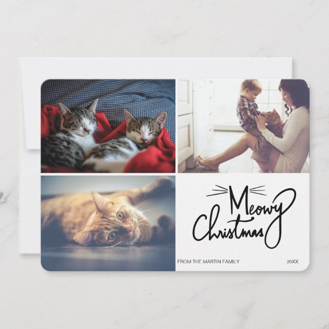 Meowy Christmas Unique Cat Themed Funny 3 Photo Holiday Card cat illustrated products